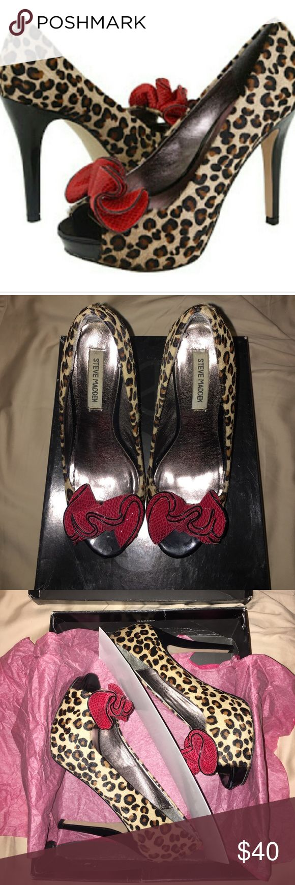 Steve Madden Regaal Leopard Peep toe Vegan calf hair with leopard print. Scuff on heel. Some light marks on the heels. Comes with box. Worn twice. Great Condition. Perfect for a sultry pin up look! Steve Madden Shoes Heels