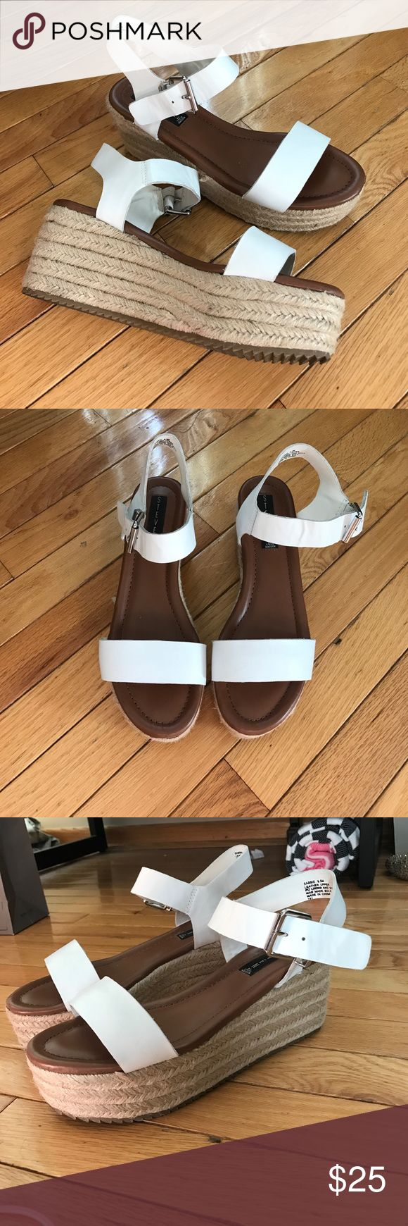 ⚡️Steven by Steve Madden platform sandals Steven by Steve Madden white espadrille platform sandals with white straps size 8.5. Great condition, one spot where espadrille is coming undone (in photo). Perfect for spring! Steven by Steve Madden Shoes Sandals