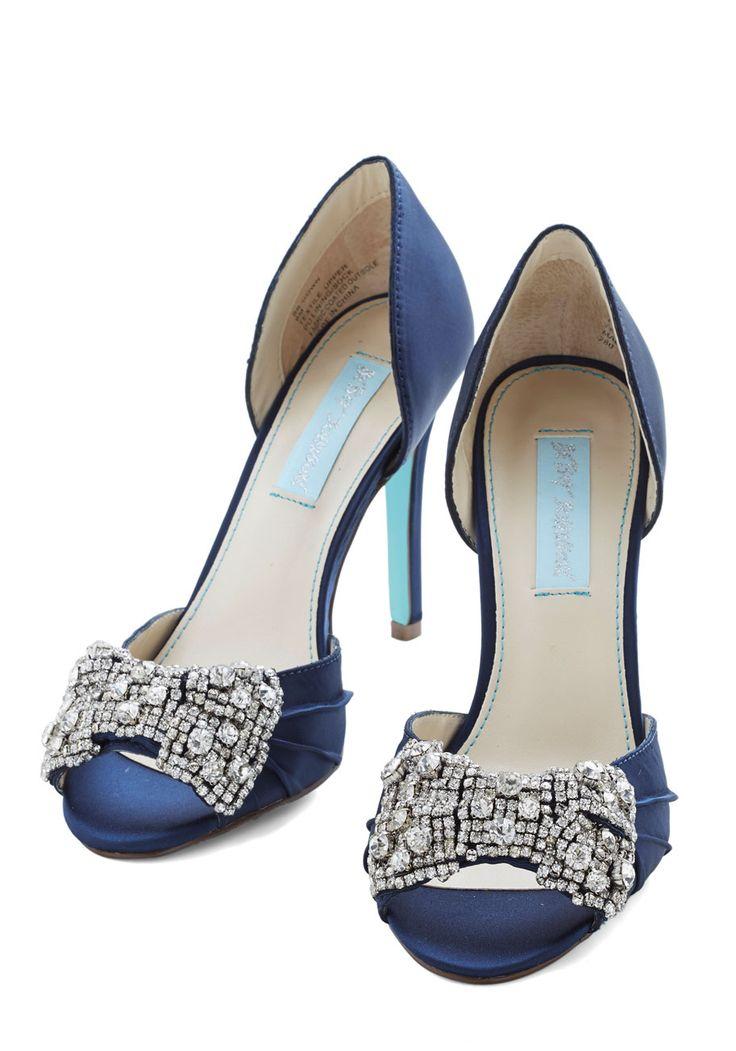 Betsey Johnson Dancing Gleam Heel in Navy Blue Sparkle