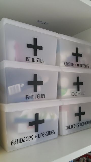 First Aid Organization Boxes. I Need To Do This In Our Closet. It Would Make  Our Medicine Take Up So Much Less Space.