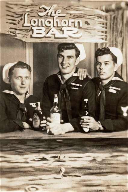 Three sailors in a novelty photograph ~