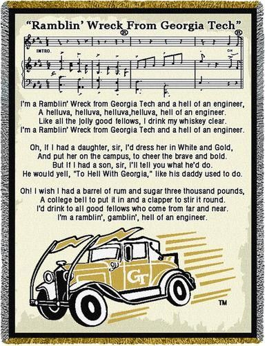 """Ramblin' Wreck from Georgia Tech"" Tapestry Throw"