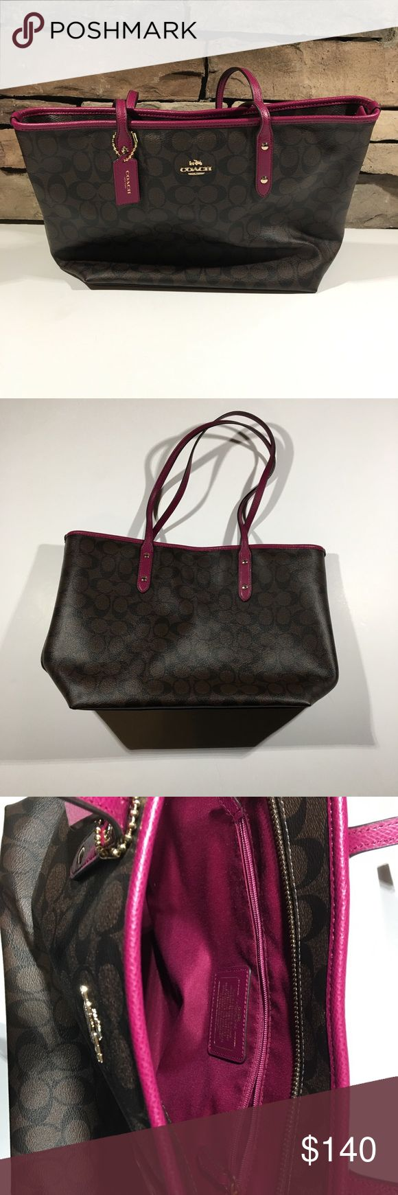 Coach Signature City Zip Tote Brown Fuchsia Never been carried. Bought by me personally and has just been sitting in my closet. Coach Bags Shoulder Bags