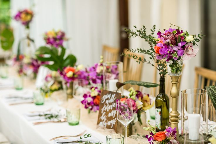 Tropical Destination Centerpices of Centerpieces of Orchid family & Foliage