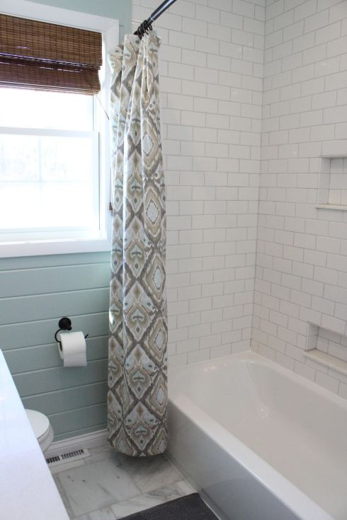 Benjamin Moore's Palladian Blue on plank walls. Like white subway tile with grey grout