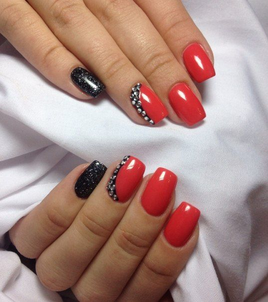 Festive nails, Halloween nails, Nails with glitter, Nails with rhinestones…