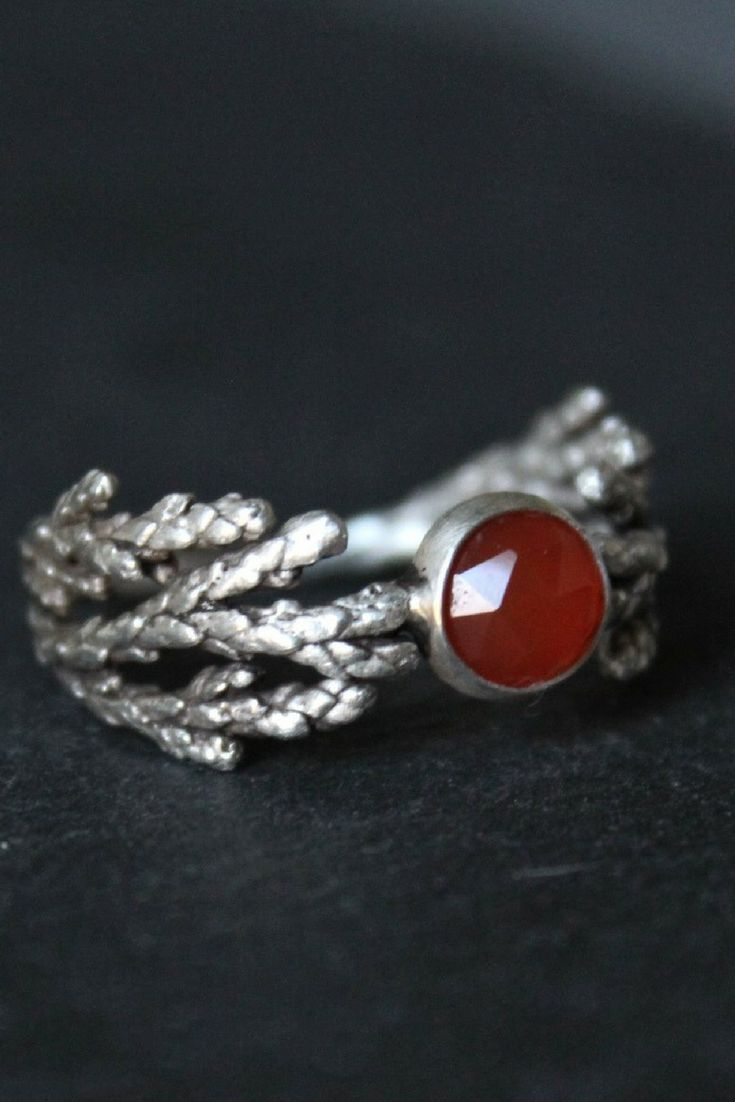 Gemstone nature ring-Carnelian ring -Cedar leaf ring -Alternative engagement ring
