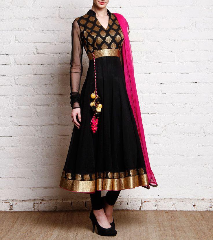 Black Printed Viscose & Satin #Anarkali #Suit at #Indianroots