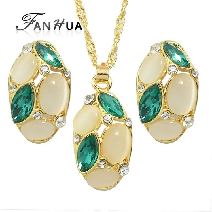 Gold-Color Chain with Opal and Colorful Crystal Water Drop Pendant Necklace and Stud Earrings // Price: $10.95 & FREE Shipping Worldwide //  We accept PayPal and Credit Cards.    #dance