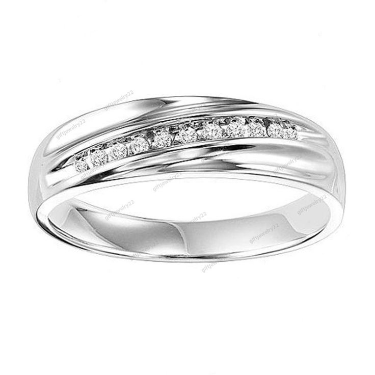 925 Sterling Silver Round Cut Diamond Men's Anniversary Wedding Band Ring New #giftjewelry22 #WeddingAnniversaryBandRing