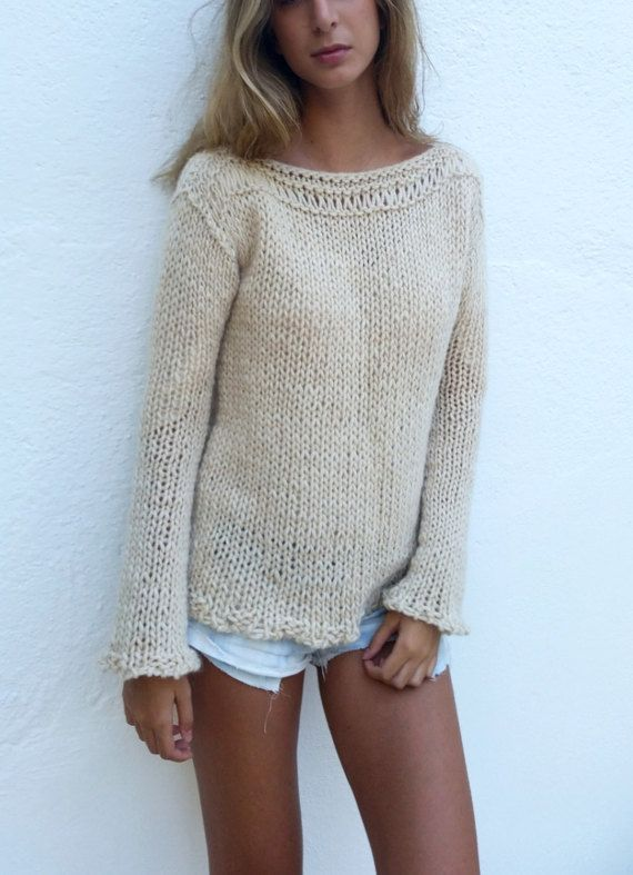 Chunky cream sweater women sweater ivory knit sweater by EstherTg