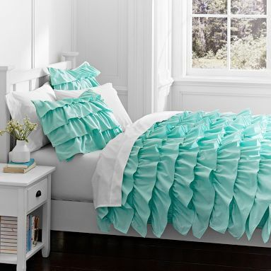 Aqua Blue Ruffle Comforter. Need this for sure! #love #love #love