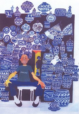 #Mario #Miranda cartoon - Famous #Blue Pottery Made in China. Digital print on paper @StoryLTD