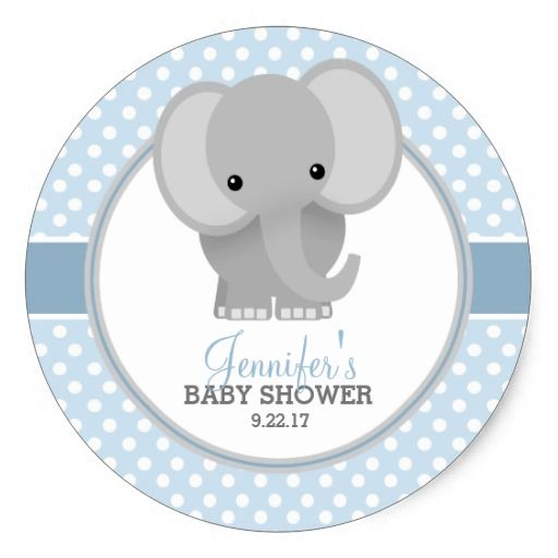 Baby elephant blue baby shower classic round sticker