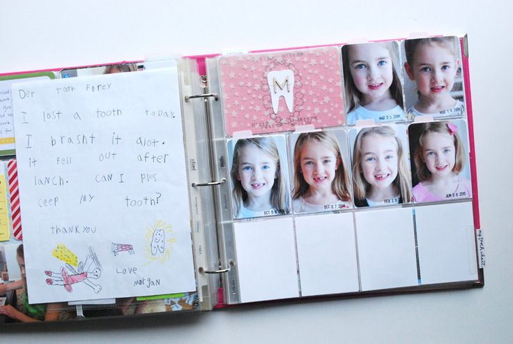 Early last year when Morgan lost her first tooth, I set up a Project Life  page inher Childhood / School Album where I could document each lost tooth  and her changing smile, in a single spread. You can read my original post  about how I set up the pagehere, but here is a simplified breakdown of the  pockets :  I'm using one side of aDesign F page protectorhere - with one 4x6 and ten  3x4 pockets. In the 4x6 pocket, I created a simple tooth chart (free  download below!) which I printed…