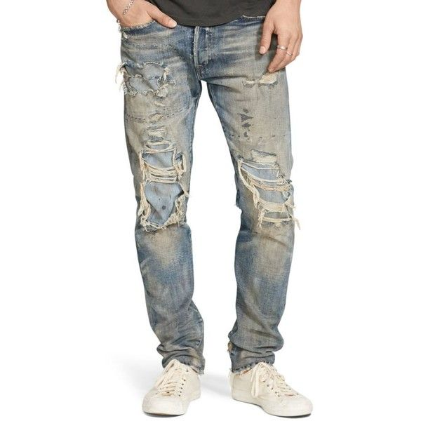 Denim  Supply Ralph Lauren Blue Prospect Slim Jeans ($78) ❤ liked on Polyvore featuring men's fashion, men's clothing, men's jeans, blue, mens slim cut jeans, mens ripped jeans, mens blue jeans, mens destroyed jeans and mens distressed jeans