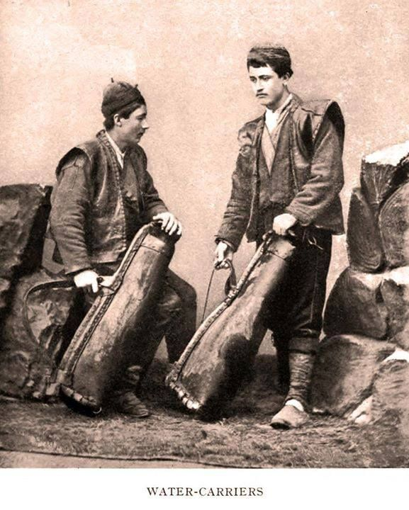 Two 'sucu' (water sellers).  Adalar (Prince Islands),  İstanbul, 1887.  Probably Greek-orthodox (as was the majority of the Adalar's population at the time).