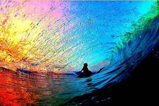 Beautiful Photo Of The Sunset Throught A Wave