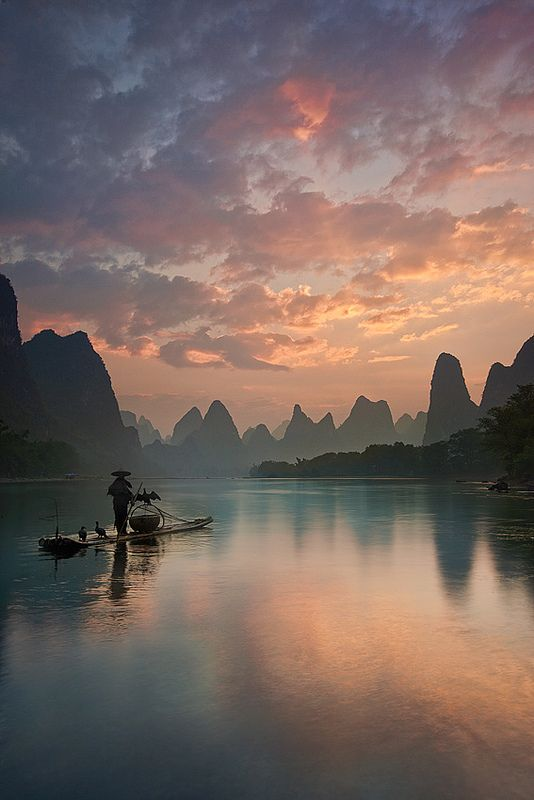 Li River Sunrise, China, culture, boat, clouds, water, reflection, trees, beauty, peaceful, silence, colourful, panorama, photograph, photo