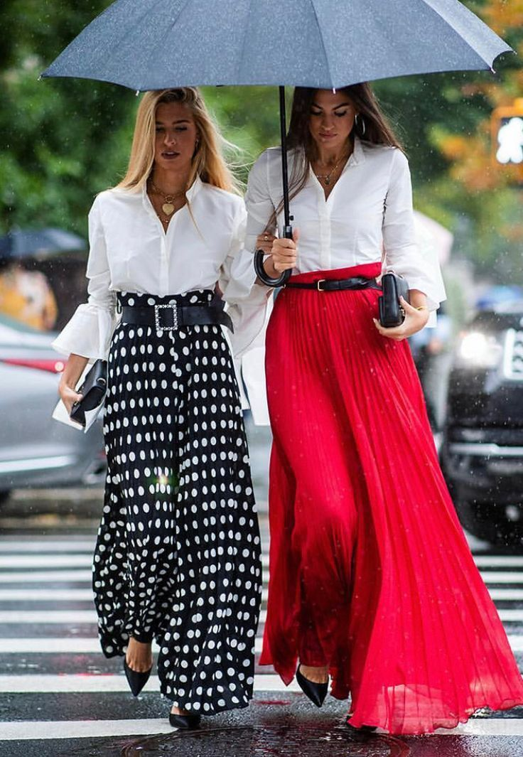 Long skirts & White blouses…