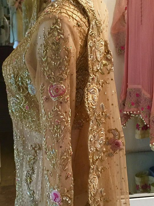 Intricate gold embroidery with floral works by #FaridaHasan