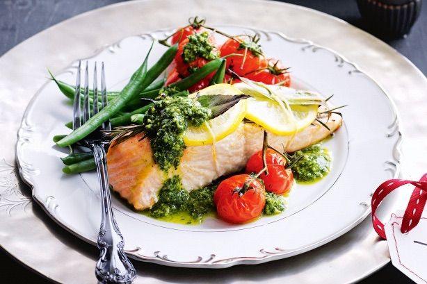 Roast Salmon with Salsa verde