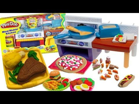 Play Doh Meal Makin kitchen Set (Easy Food Creations) - PezRacer!  Take a look at this amazin Play doh meal makin kitchen set. Make tonnes of easy play doh food creations including pizza, steak, chicken, hotdogos, tacos, eggs, toast, etc!  This set includes play doh molds that create various food shapes, an oven, a kitchen counter, utensils, a play doh press that creates amazing shapes such as vegetables, a toaster, and some other neat little play doh items. In this video I will show you how…