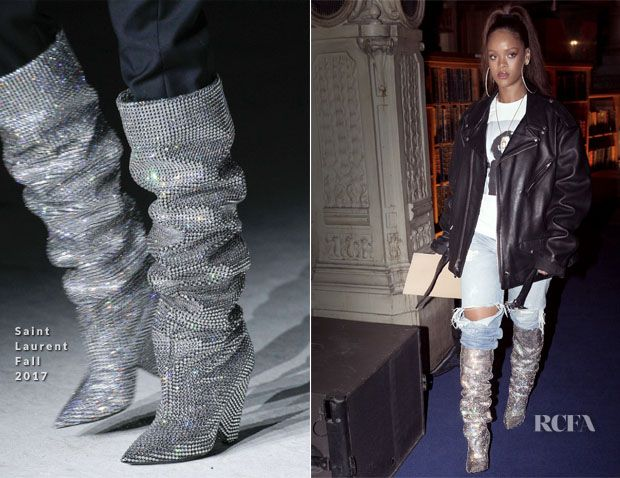 Image result for saint laurent slouchy boots aw17 rihanna