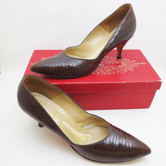 Vintage Lizard Heels 60s Shoes with Box Size 9 AA ...