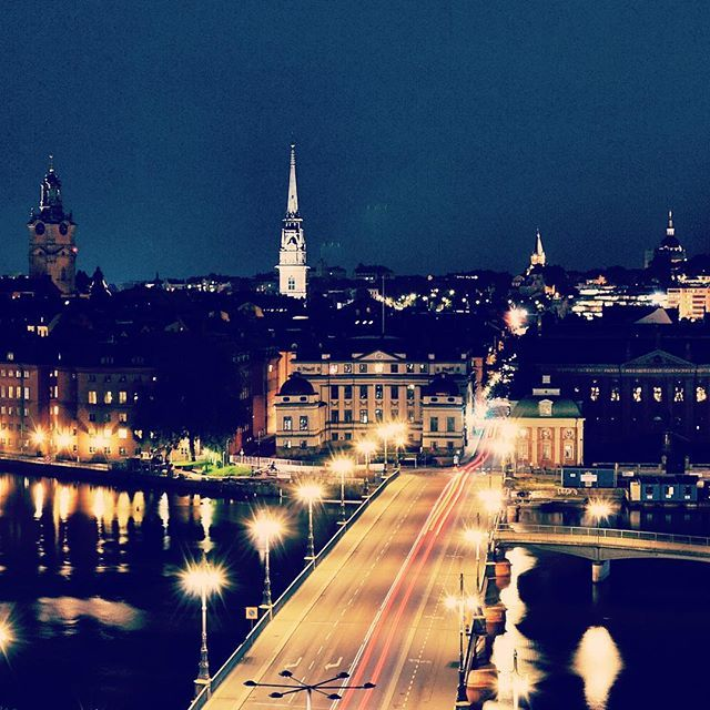 Late summer night looking out on the view of Stockholm Old Town.  http://sher.at/1IoPacH