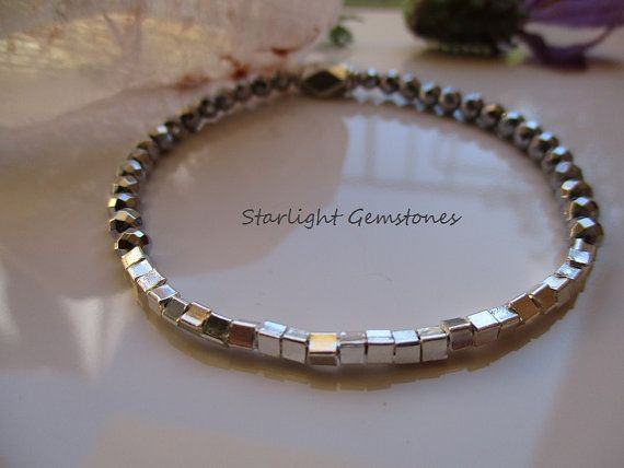 Hill Tribe Sterling Silver beads & White faceted Hematite Gemstone Gradient Two Tone Silver Stretch Bracelet.