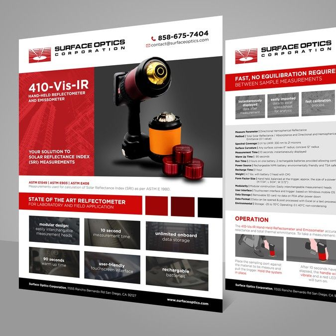 Redesign this product spec sheet for an engineering tool by Graphics Hill