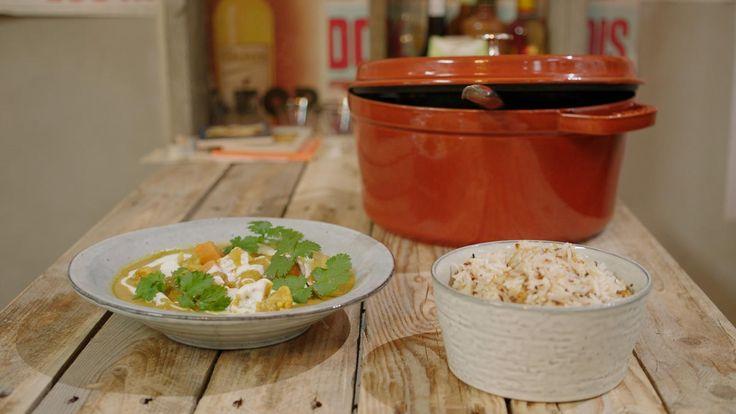 Curry van zoete aardappel, pinda en rijst | Dagelijkse kost