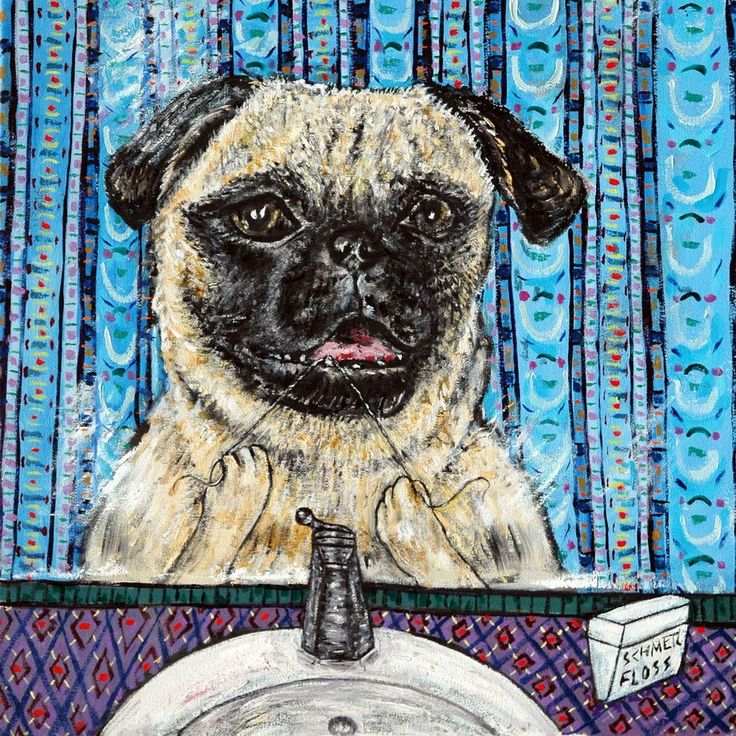 PUG at the wine bar  dog art print 13x19