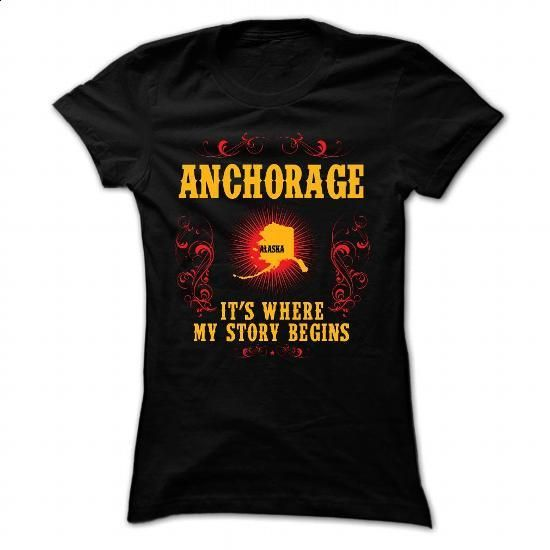 Anchorage - Its where story begin - #lace shirt #gray tee. MORE INFO => https://www.sunfrog.com/Names/Anchorage--Its-where-story-begin-Black-Ladies.html?68278