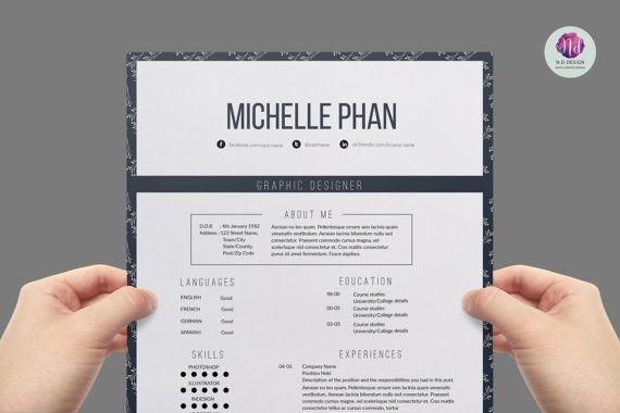Élégant modèle de CV, lettre de motivation & référence lettre modèles (résumé de la 1 page) / CV créatif design / professionnel reprendre