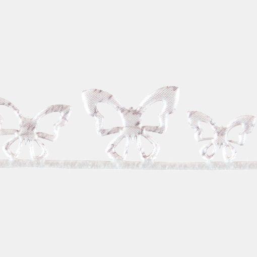 Deko bånd 40mm sommerfugl hvit/sand 2m