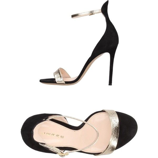 Lerre Sandals (645 BGN) ❤ liked on Polyvore featuring shoes, sandals, black, elastic-strap sandals, black leather sandals, stiletto sandals, round toe sandals and black stilettos