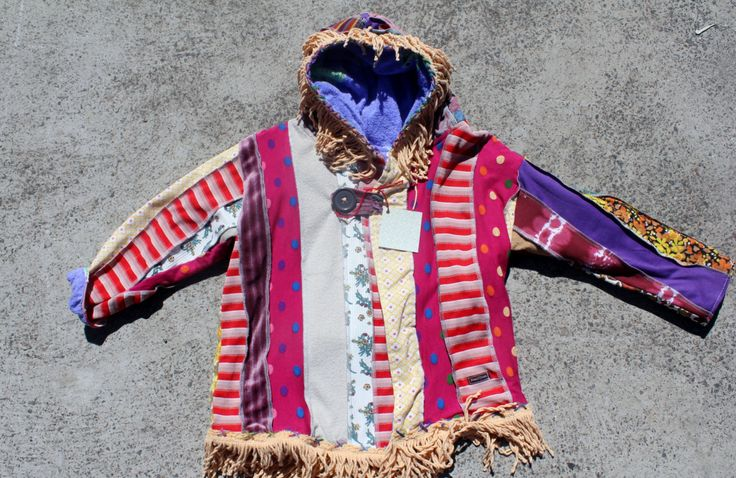 girls size 4 and 5 and 6, Boho jacket, fully lined, one of a kind, vinatge cotton, knits , chenille fringing, hooded, long sleeve by mamma5design on Etsy