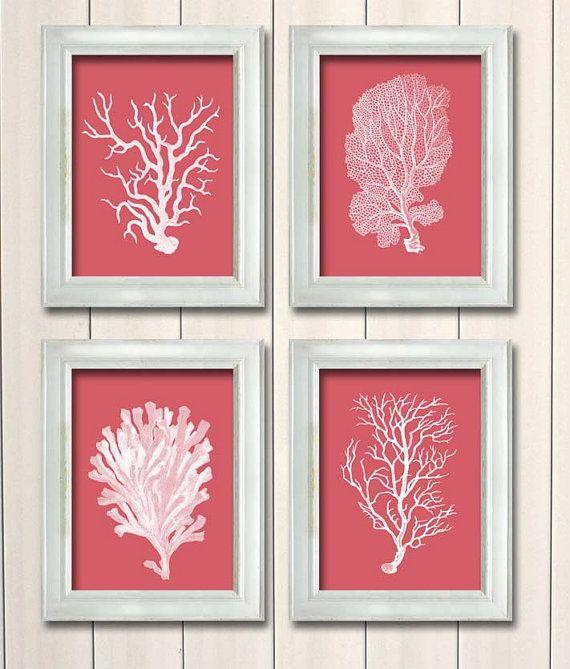 White Nautical Wall Decor : Coral prints white on set of nautical print