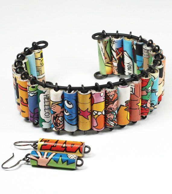 Paper Bead Jewelry Upcycled Comic Book Bracelet Cuff by by Tanith