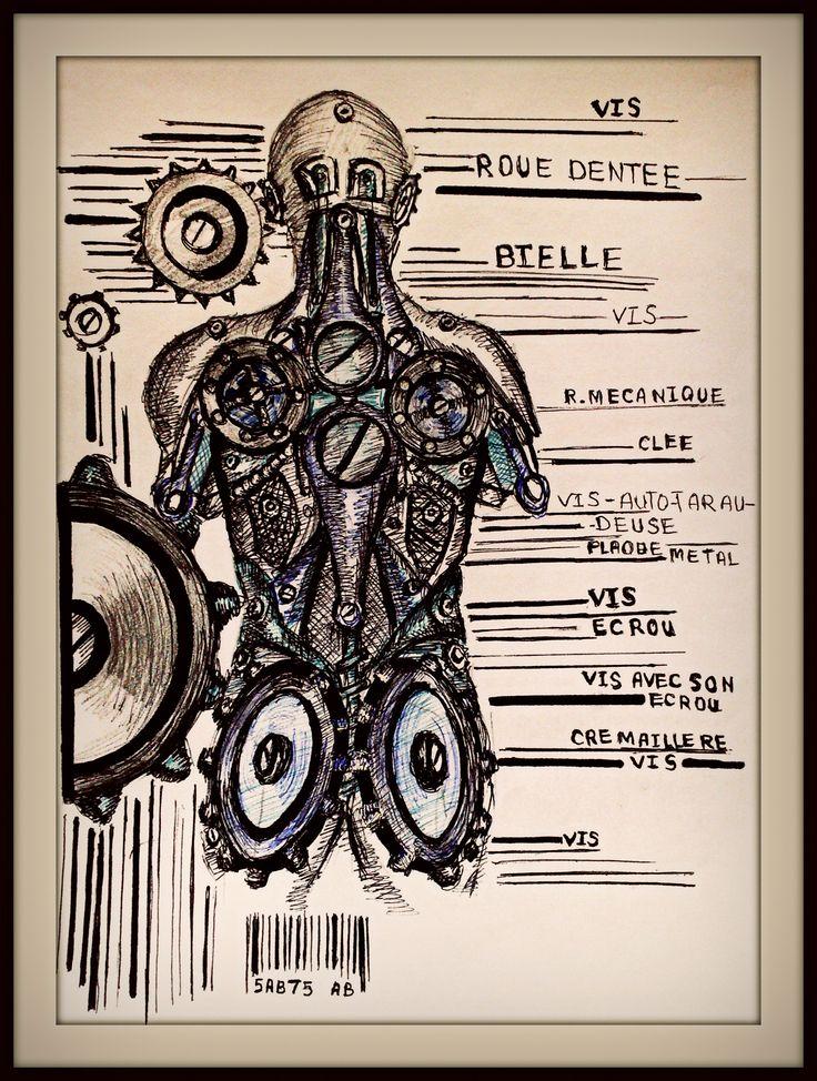 dessin stylo Humanoïde