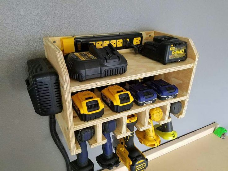 Charging station and storage for cordless power tools.