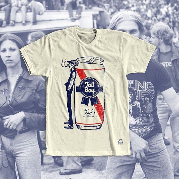 Flatironapparel.com | Tall Boy Pabst Blue Ribbon Beer T-Shirt // $24 #freeshipping Link in bio  24 fluid ounces of pure American ale. Pabst Blue Ribbon is one of the many beers that you can order as a tall boy. Whether its a can of Schlitz Budweiser Busch Keystone Ice Brooklyn Lager Heineken Colt 45 or a PBR some of us just prefer more brew for our buck. So crack open a cold one. Cheers!