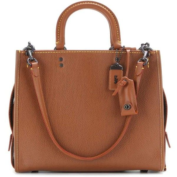 Coach Rogue Leather Tote ($1,100) ❤ liked on Polyvore featuring bags, handbags, tote bags, brown, totes, brown leather tote bag, brown tote bags, tote purses, leather tote bag and leather totes