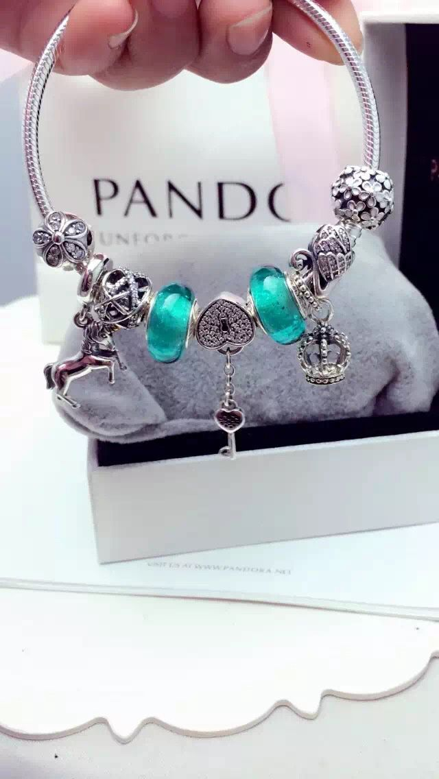 50% OFF!!! $239 Pandora Charm Bracelet Green. Hot Sale!!! SKU: CB01989 - PANDORA Bracelet Ideas