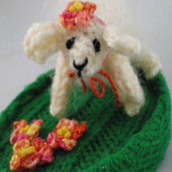 Spring Lamb Ornament - Knitted Sculpture, Paradis Terrestre - Luxury British Made Accessories & Homeware