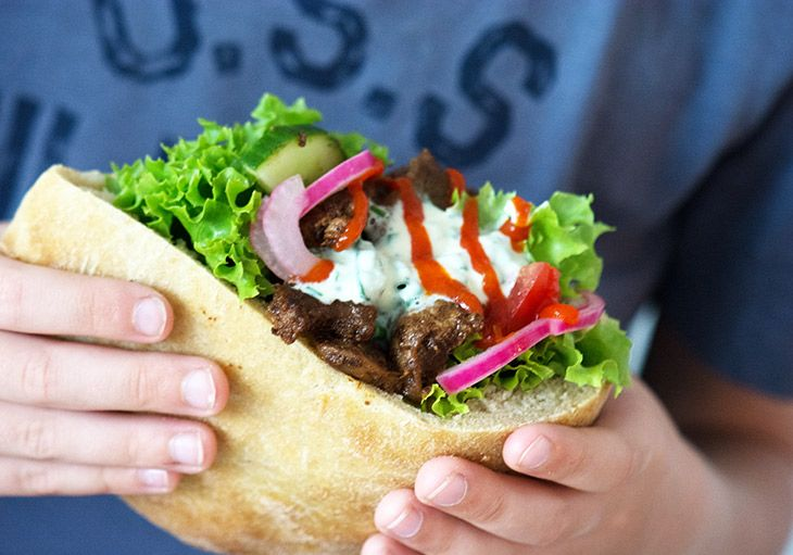 Hjemmelavet kebab shawarma