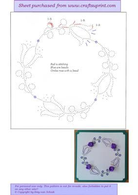 ED125 Flowercircle on Craftsuprint designed by Emy van Schaik - Stitching with beads - Now available for download!