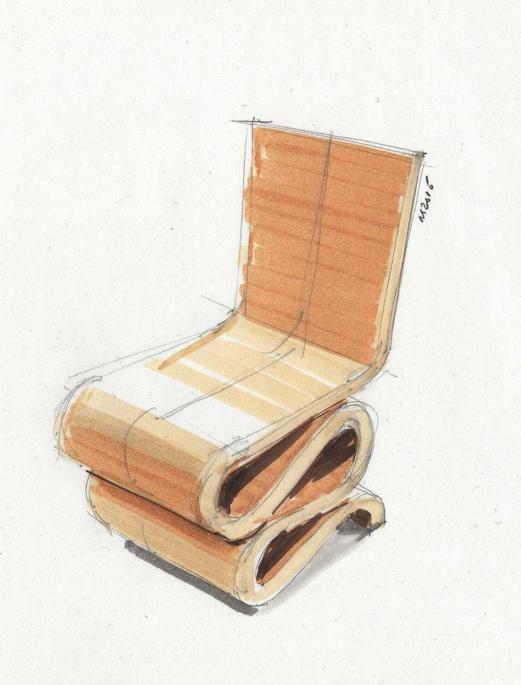 Frank Garry cardboard chair. Fun to draw - 15min. Used Copics for this sketch. @wrenchbone